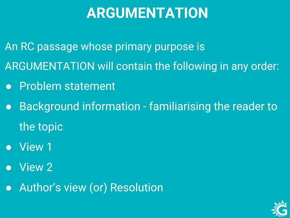 Argumentative type passages in GRE Reading Comprehension