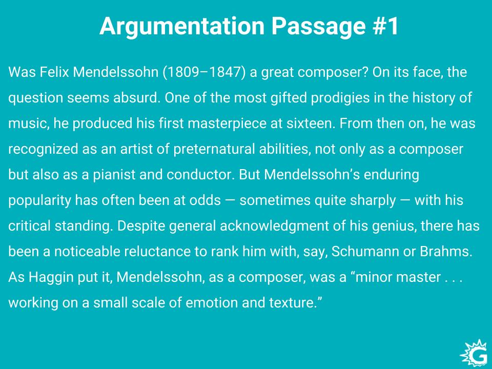 Argumentative passages example