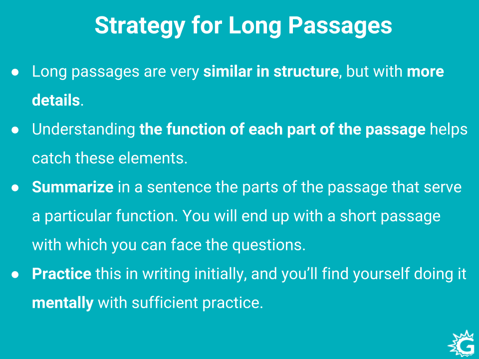 Strategy to solve GRE Long Passages