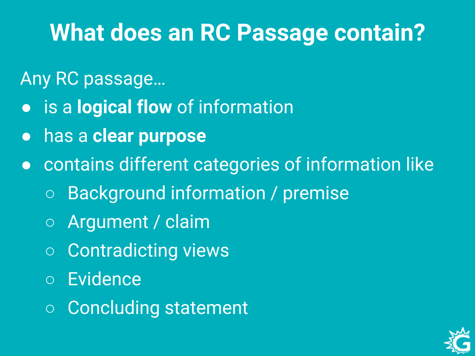 Information in GRE reading comprehension passages.