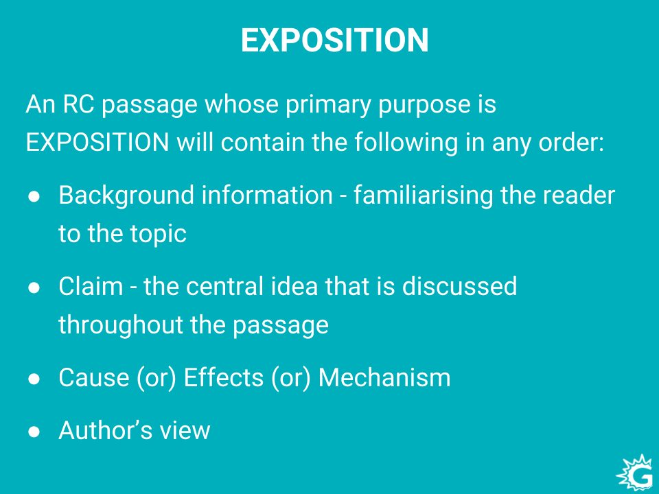 Elements in Exposition type passages in GRE reading comprehension