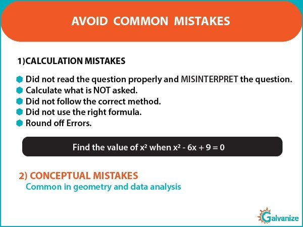 GRE Math - calculation and conceptual mistakes
