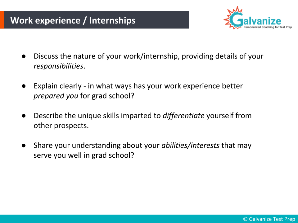 Experiences to be written in Statement of Purpose for internships or job