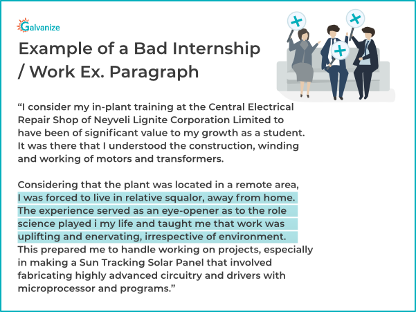 Statement of purpose example for bad experience in internship or job