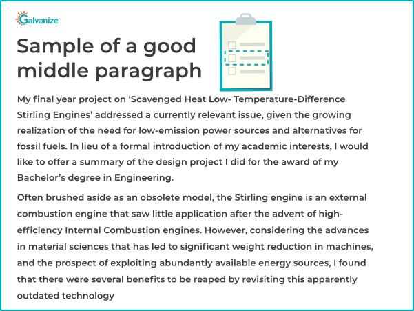 Statement of purpose sample for good middle part paragraph