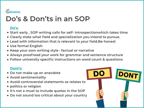 Do's and don'ts in statement of purpose