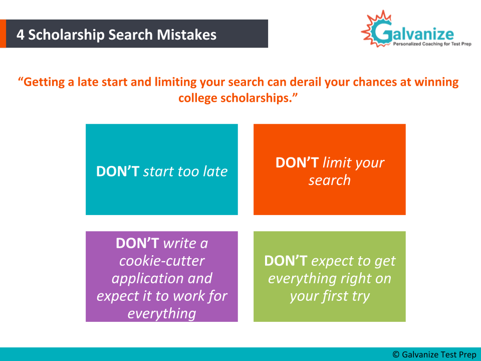 Scholarship search mistakes
