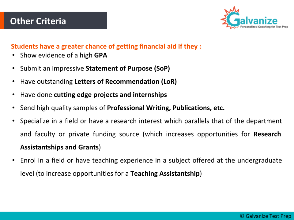 important Criteria to get the scholarship or financial aid