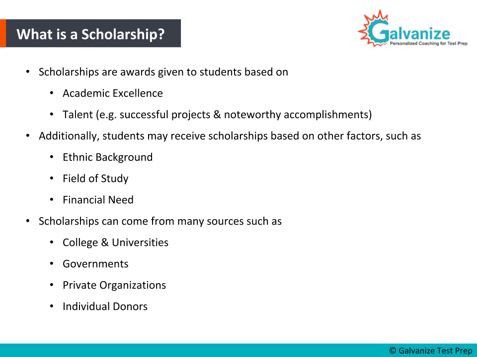 Scholarship sources and requirements