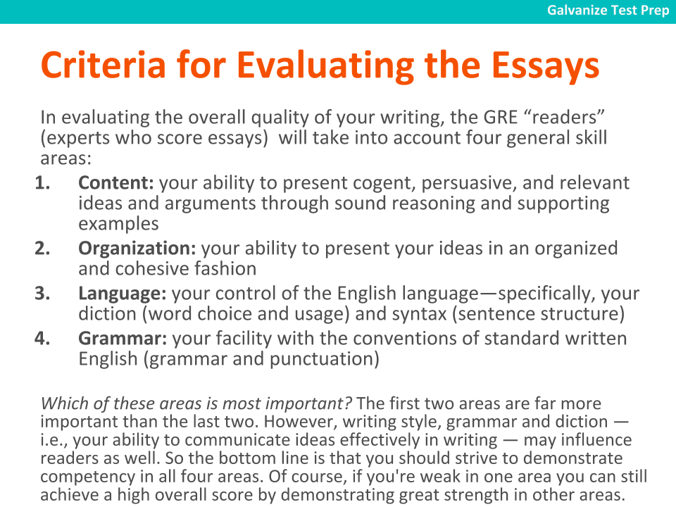 GRE analytical writing essay evaluation criteria