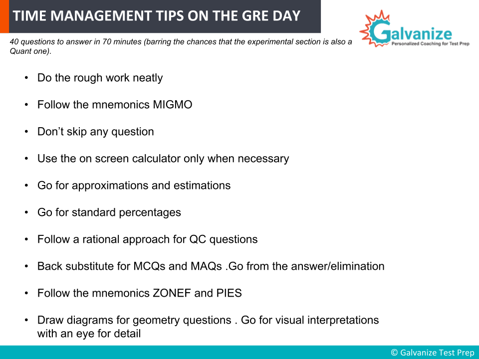 Time Management tips on the day of GRE Exam