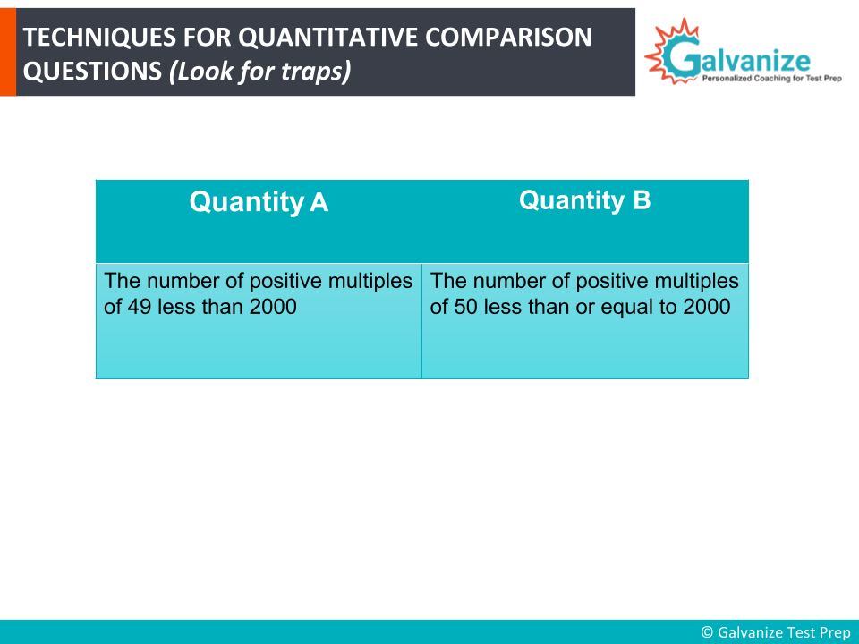 Techniques for GRE Quantitative comparison questions