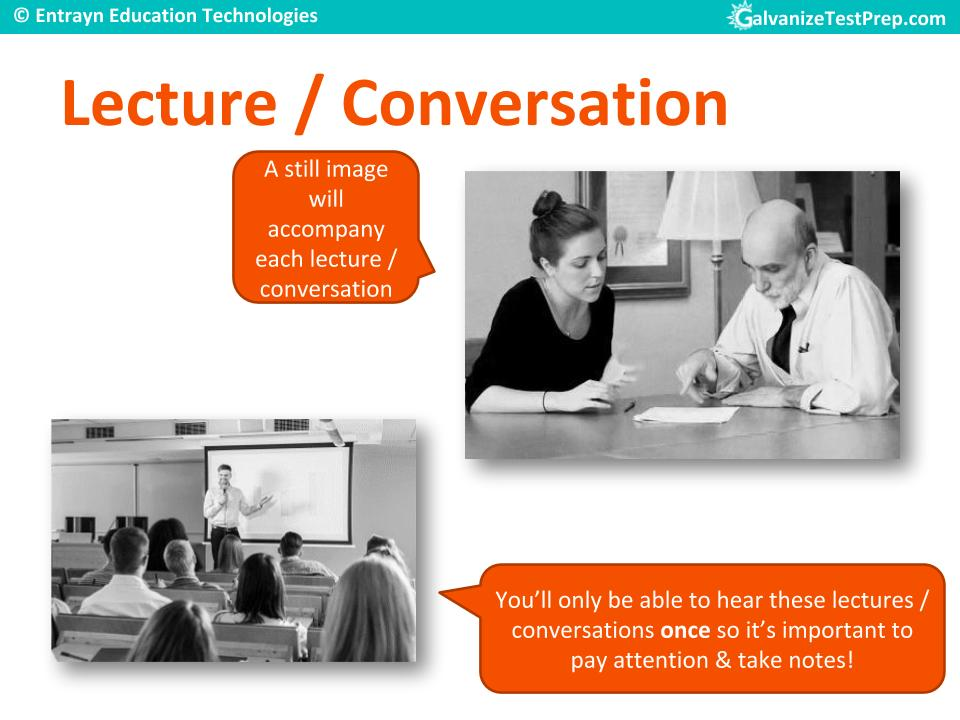 Lecture / Conversation type questions in TOEFL listening section