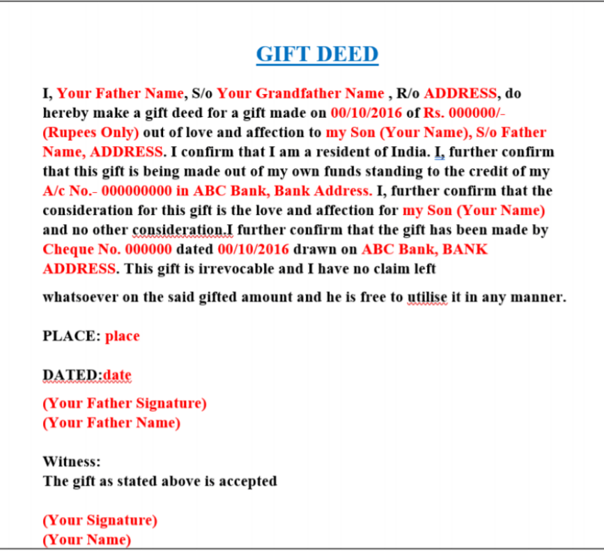 gift deed (1) : Canada Express Entry